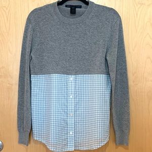 Marc By Marc Jacobs Grey Sweater W/ Shirt Detail
